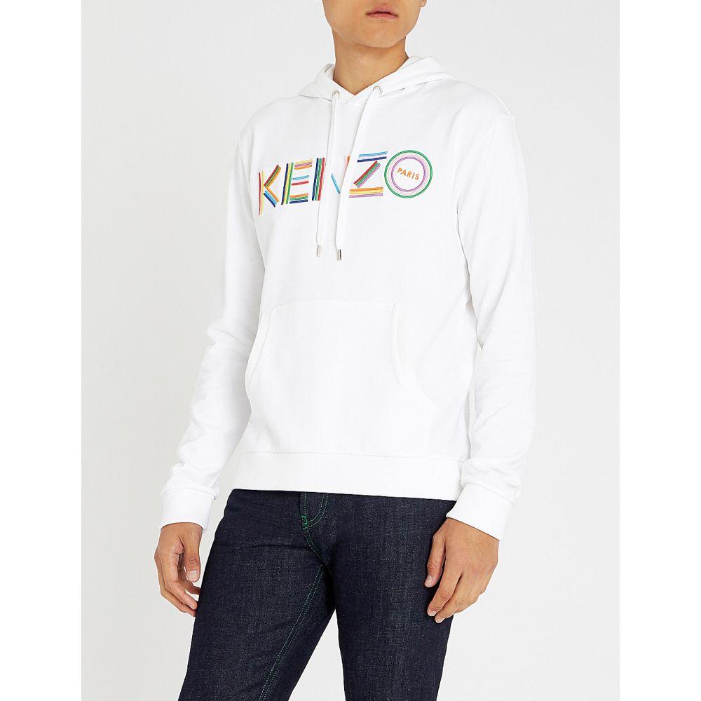 ケンゾー kenzo メンズ トップス パーカー【logo-embroidered cotton-jersey hoody】White