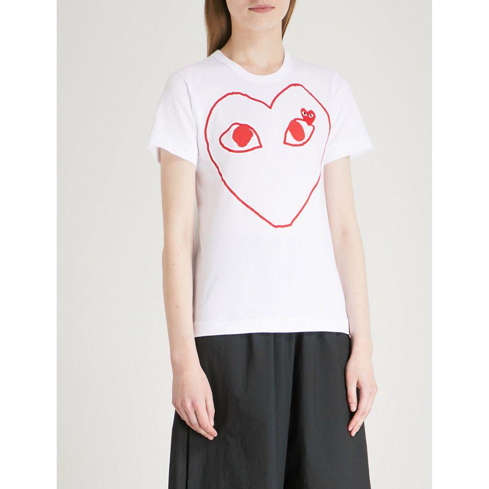 コム デ ギャルソン comme des garcons play レディース トップス Tシャツ【heart-logo cotton-jersey t-shirt】White