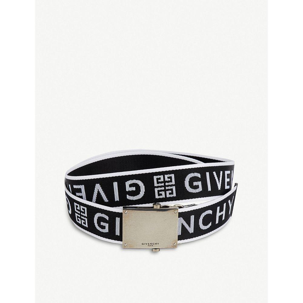 ジバンシー givenchy メンズ ベルト【logo-jacquard belt】Black white