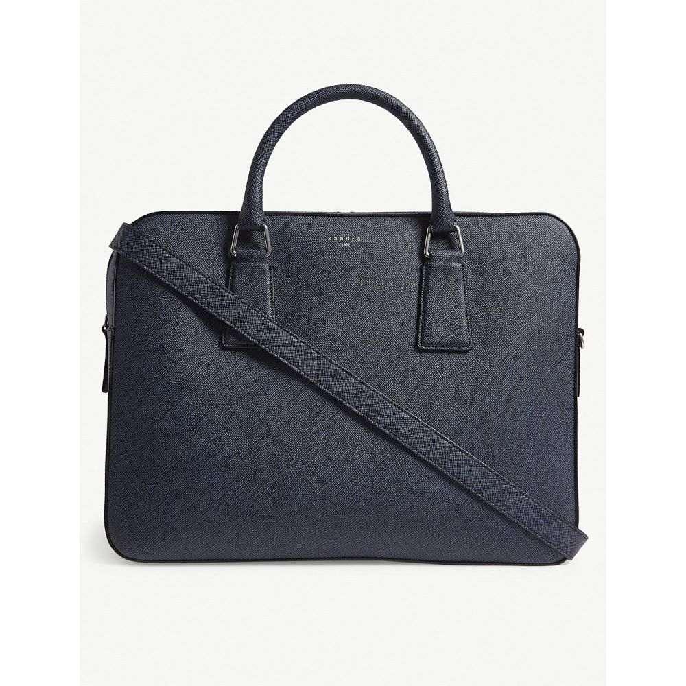 サンドロ sandro メンズ バッグ ビジネスバッグ・ブリーフケース【downtown large saffiano leather briefcase】Blue black