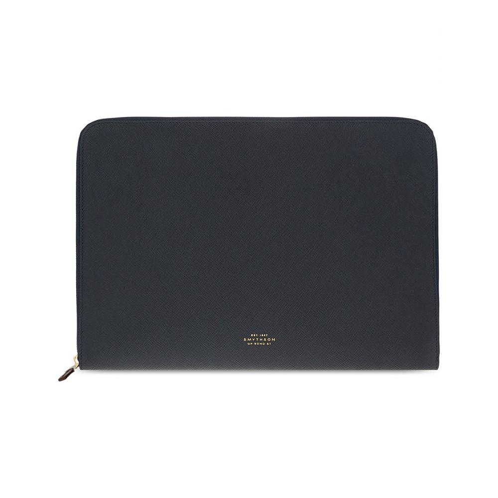 case】Navy smythson バッグ メンズ 13' パソコンバッグ【panama laptop leather スマイソン