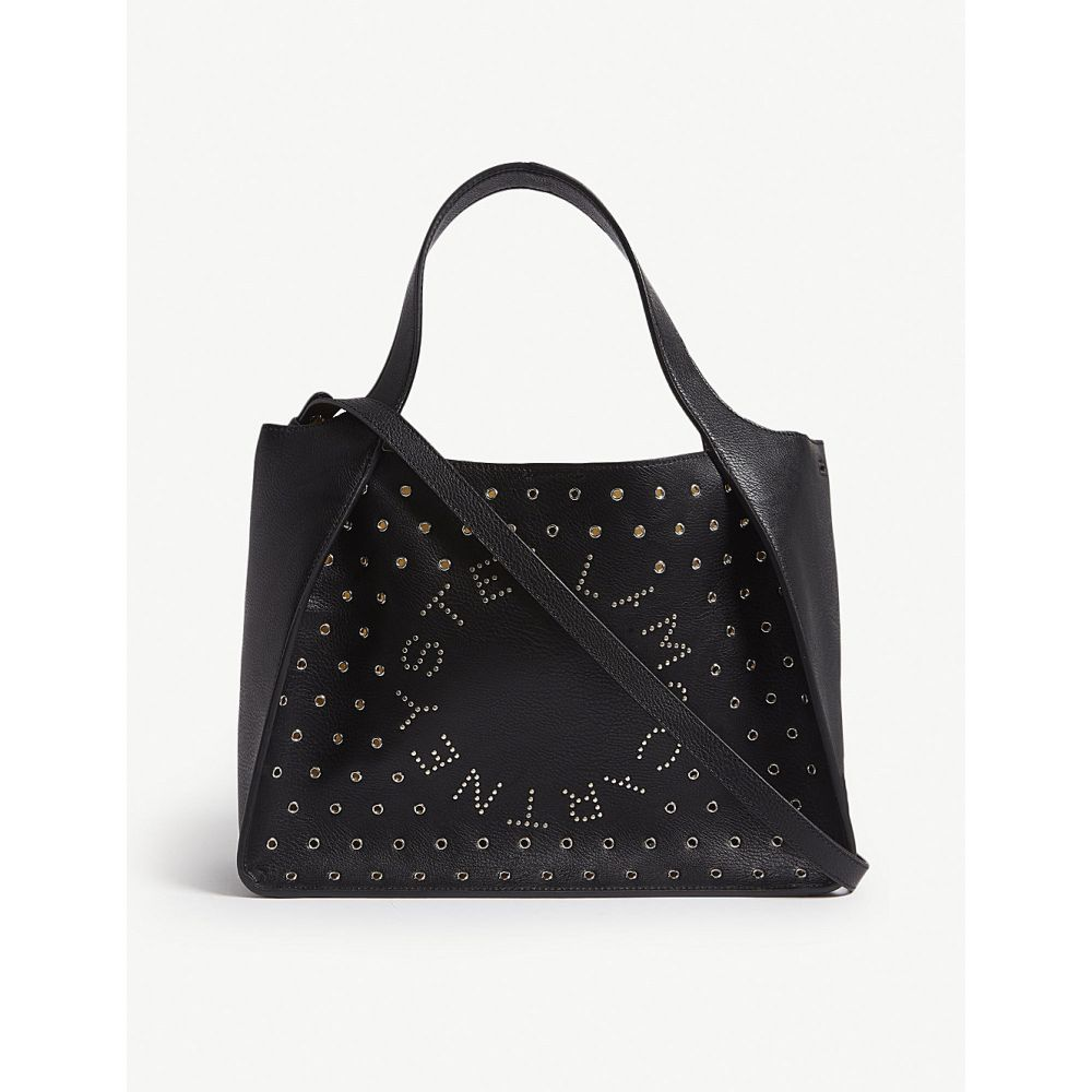 ステラ マッカートニー stella mccartney レディース バッグ トートバッグ【eyelet-embellished logo faux-leather tote bag】Black