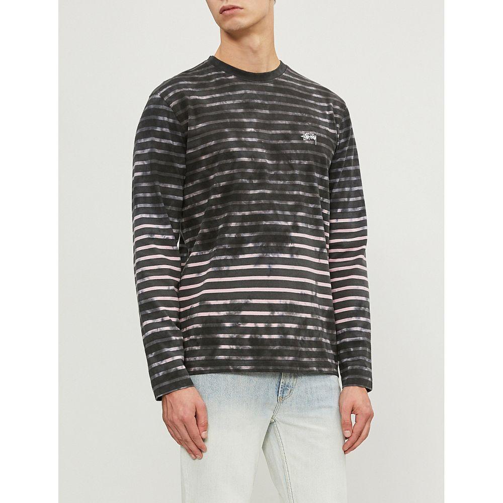 ステューシー stussy メンズ トップス Tシャツ【bleached striped cotton-jersey t-shirt】Charcoal
