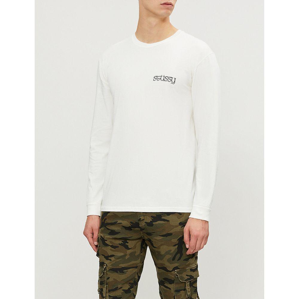 ステューシー stussy メンズ トップス 長袖Tシャツ【logo-print cotton-jersey t-shirt】Natural