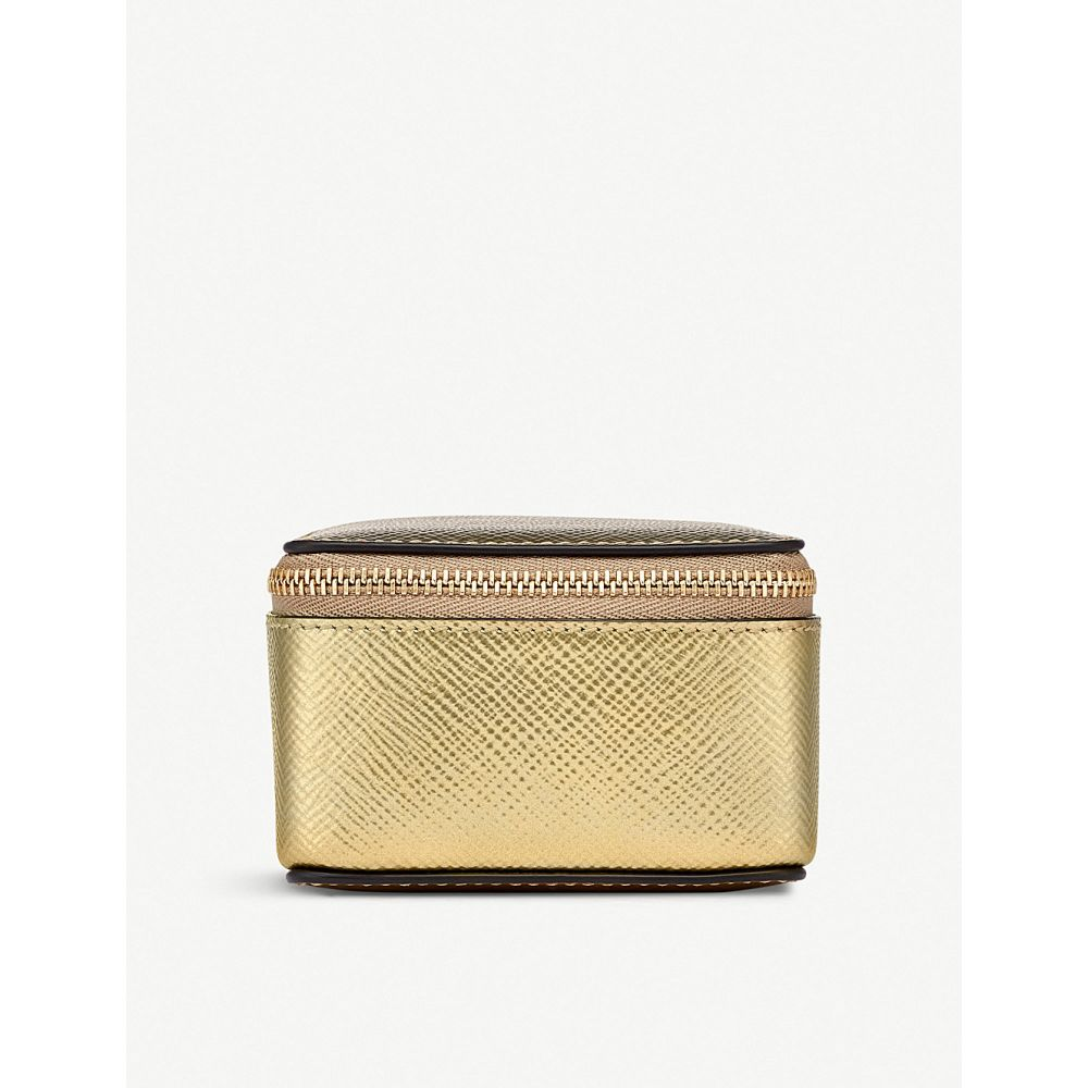スマイソン smythson レディース ポーチ【panama leather medium trinket case】Gold