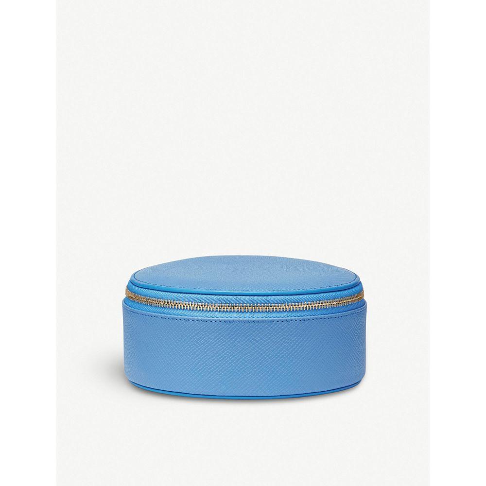 スマイソン smythson レディース ポーチ【panama leather round trinket case】Nile blue