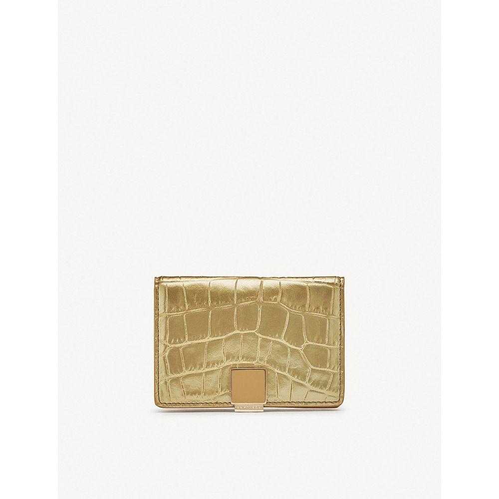 スマイソン smythson レディース カードケース・名刺入れ【mara leather business and credit card case】Gold