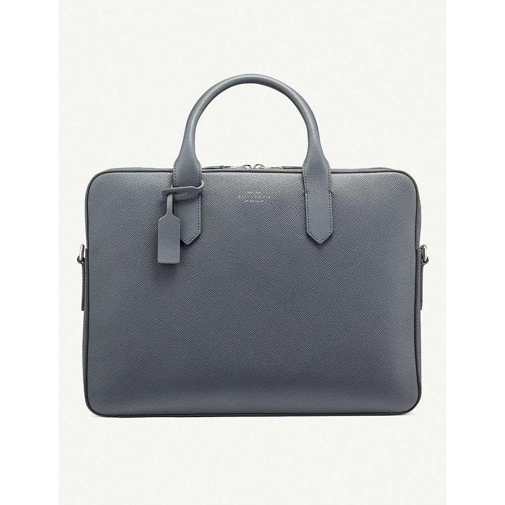 スマイソン smythson メンズ バッグ ビジネスバッグ・ブリーフケース【panama cross-grain leather slim briefcase】Smoke