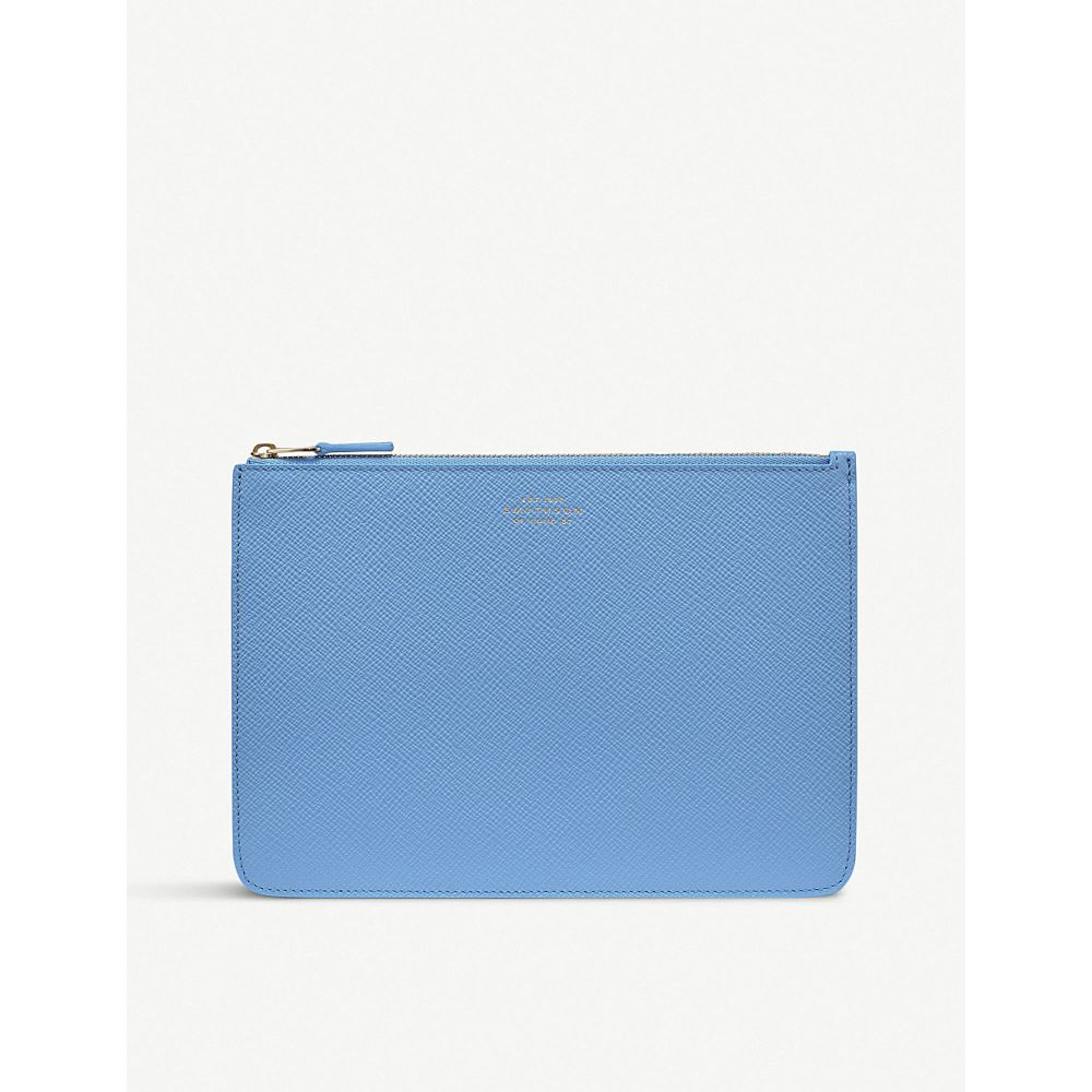 スマイソン smythson レディース ポーチ【panama cross-grain leather travel pouch】Nile blue