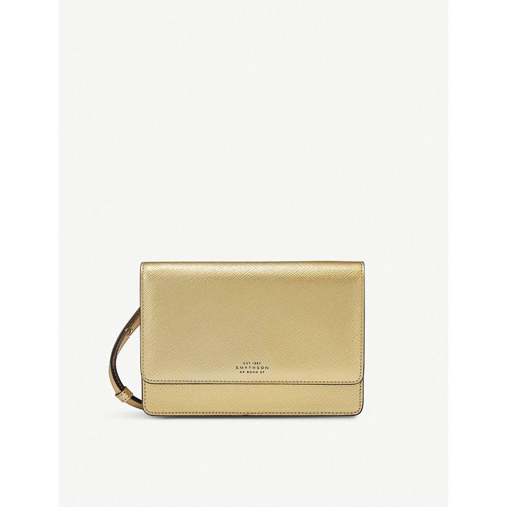 スマイソン smythson レディース 財布【panama cross-grained leather purse with strap】Gold