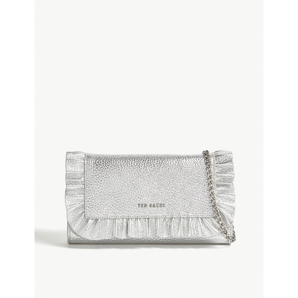 テッドベーカー ted baker レディース バッグ【orsa ruffled leather wallet-on-chain】Silver