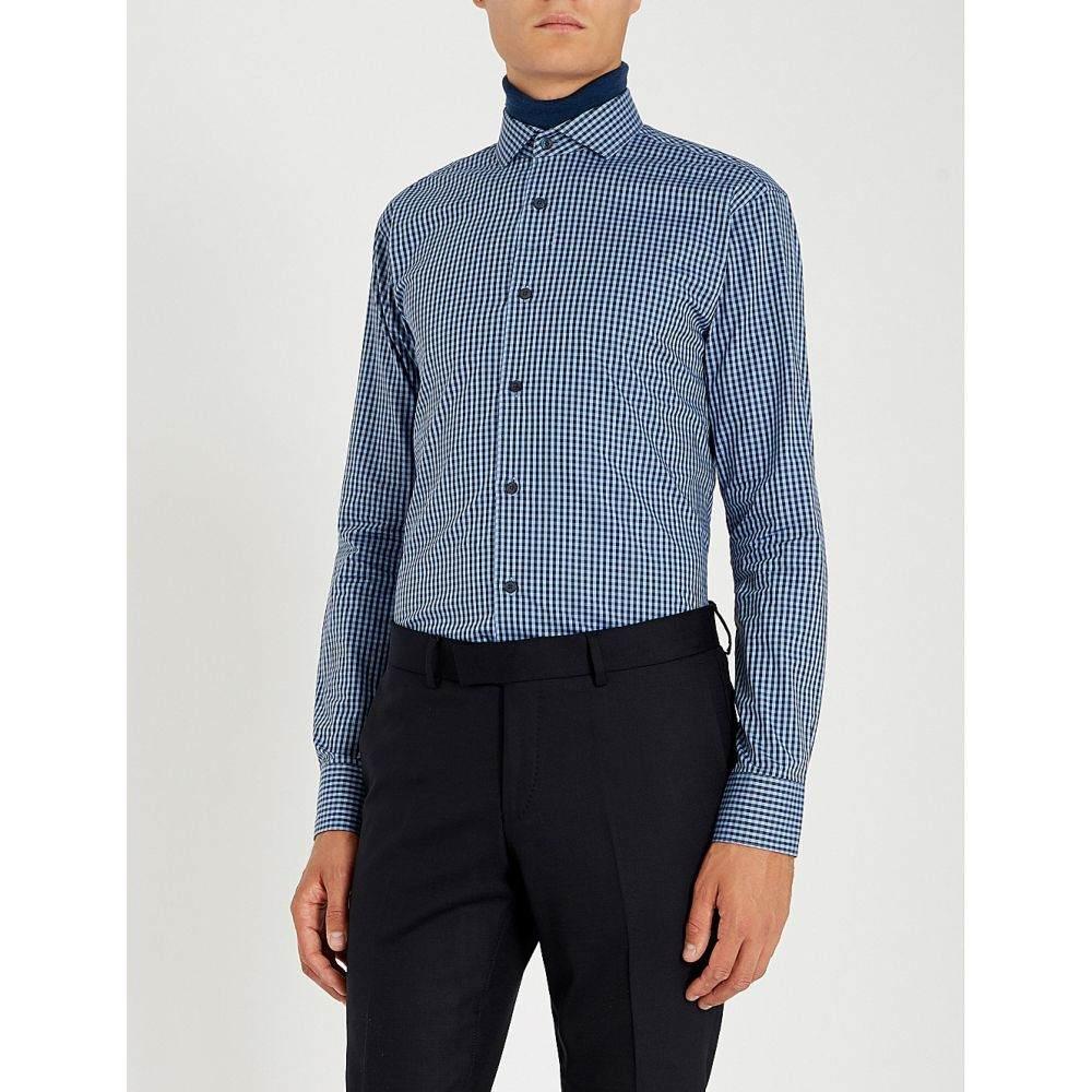 タイガー オブ スウェーデン tiger of sweden メンズ トップス シャツ【farrell slim-fit gingham cotton shirt】Blue