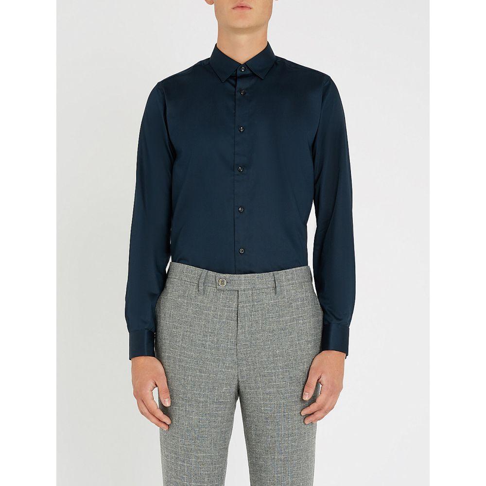 テッドベーカー ted baker メンズ トップス シャツ【modern-fit stretch-cotton shirt】Navy