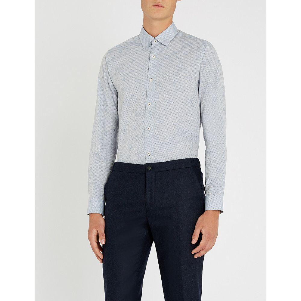 テッドベーカー ted baker メンズ トップス シャツ【floral-print polka-dot modern-fit cotton shirt】Light blue