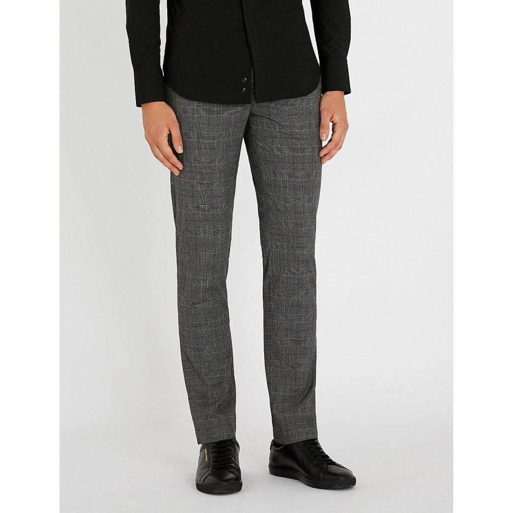 テッドベーカー ted baker メンズ ボトムス・パンツ【check-patterned regular-fit tapered woven trousers】Grey