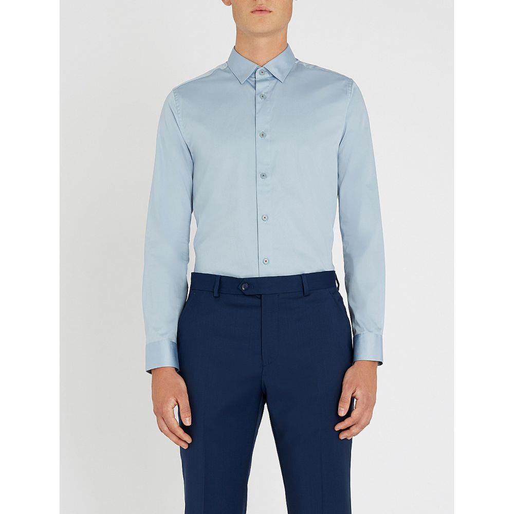 テッドベーカー ted baker メンズ トップス シャツ【regular-fit stretch-cotton shirt】Blue