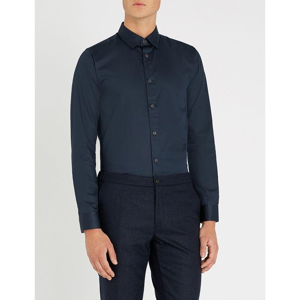 テッドベーカー ted baker メンズ トップス シャツ【regular-fit stretch-cotton shirt】Navy