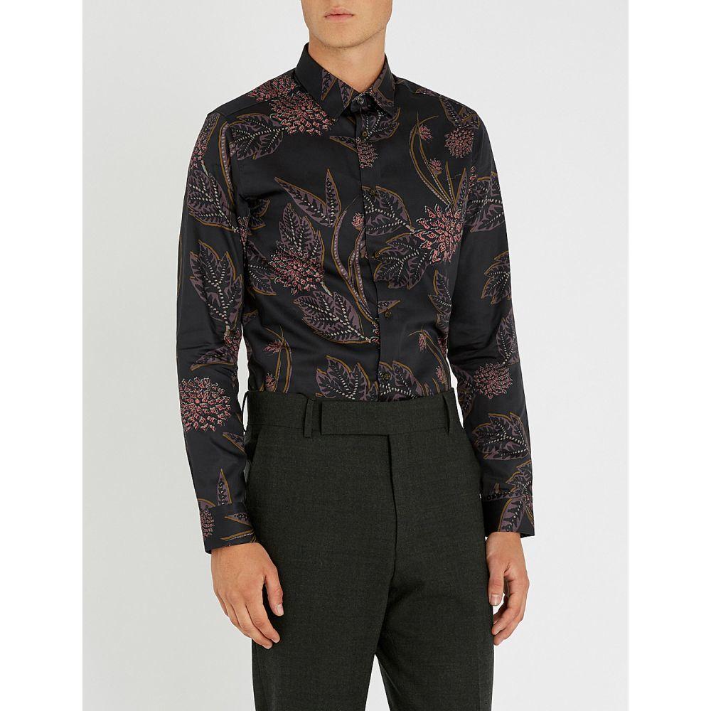 テッドベーカー ted baker メンズ トップス シャツ【notting floral-print regular-fit cotton shirt】Navy