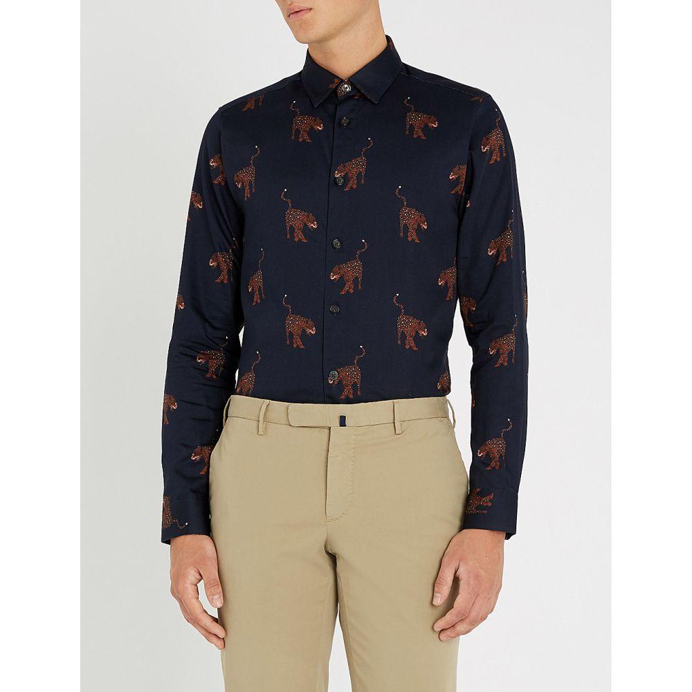 テッドベーカー ted baker メンズ トップス シャツ【pantha leopard-print modern-fit cotton shirt】Navy