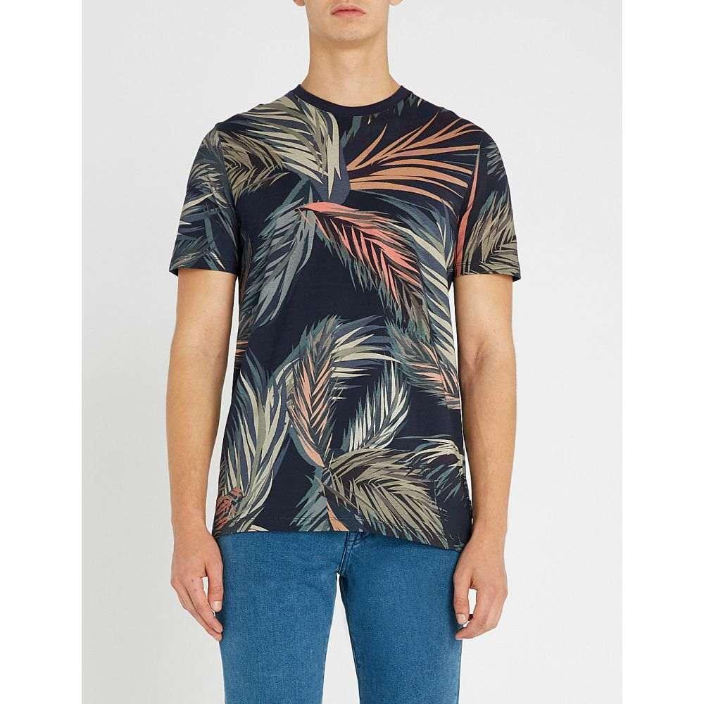 テッドベーカー ted baker メンズ トップス Tシャツ【leaf-print cotton-jersey t-shirt】Navy