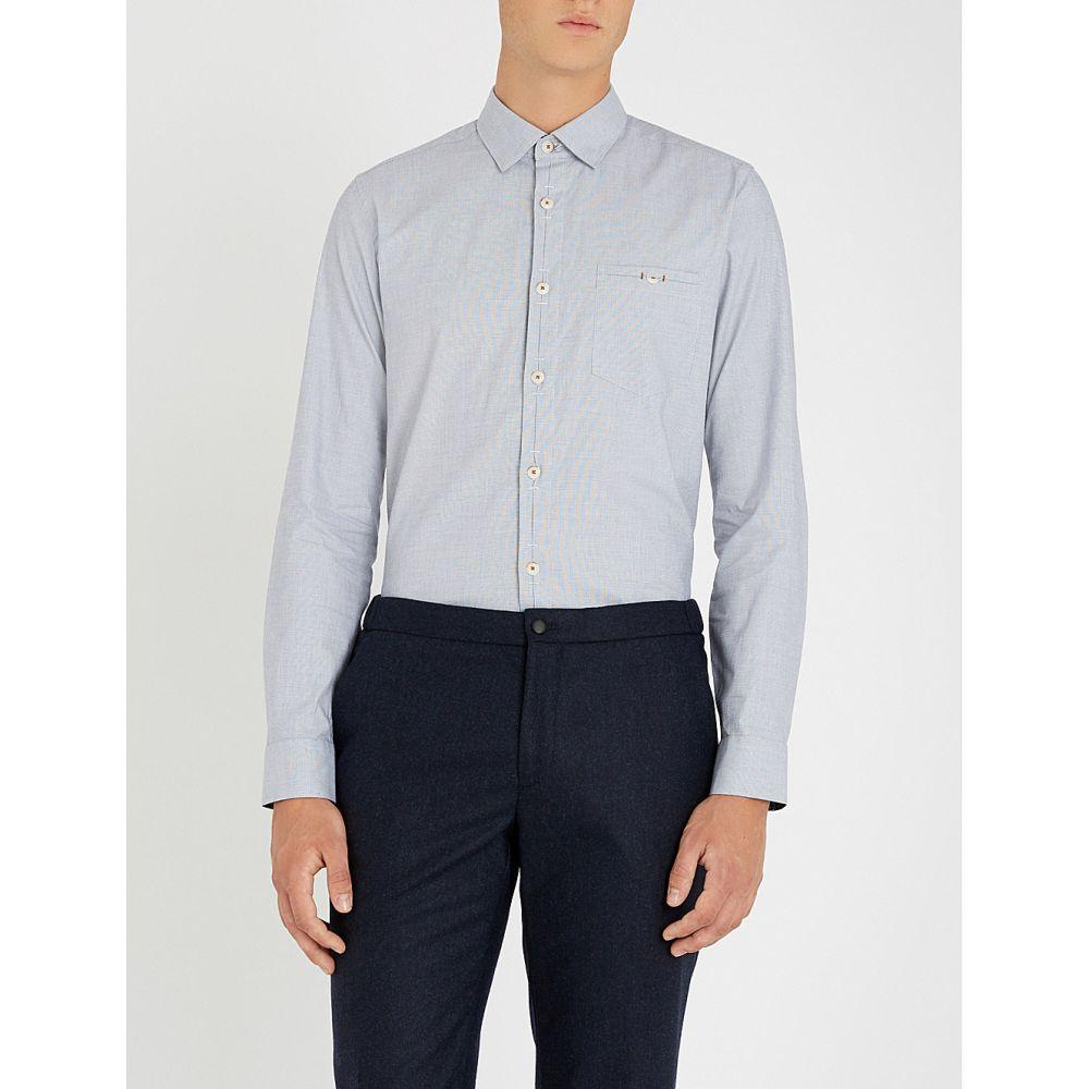 テッドベーカー ted baker メンズ トップス シャツ【slim-fit stretch-cotton shirt】Blue