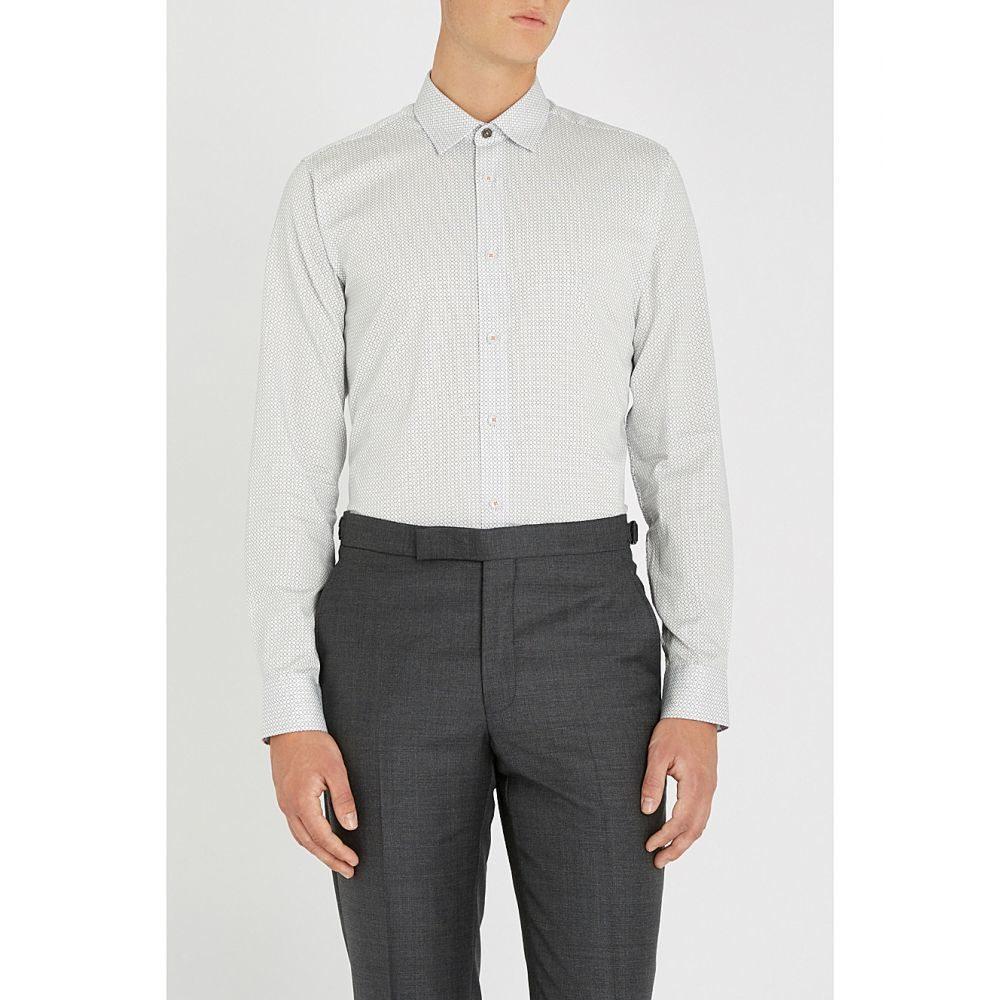 テッドベーカー ted baker メンズ トップス シャツ【geometric-print cotton shirt】White
