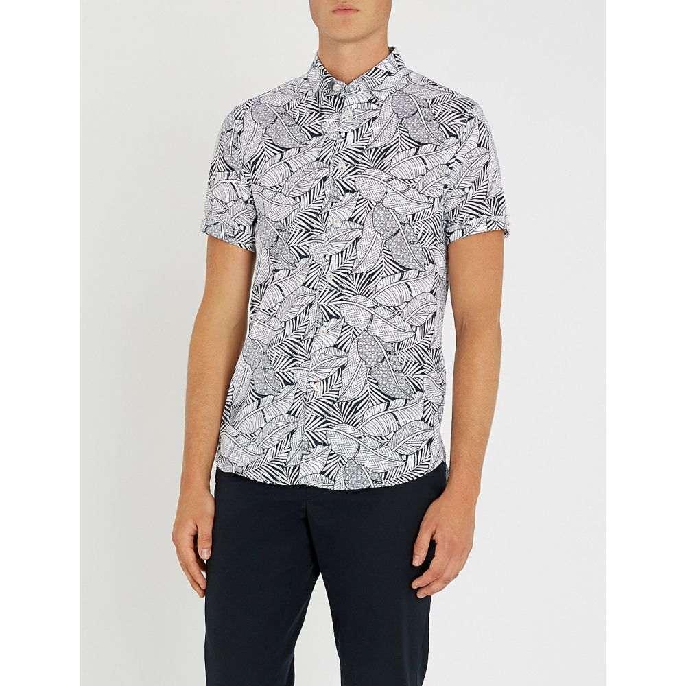 テッドベーカー ted baker メンズ トップス シャツ【foliage-print cotton shirt】Navy