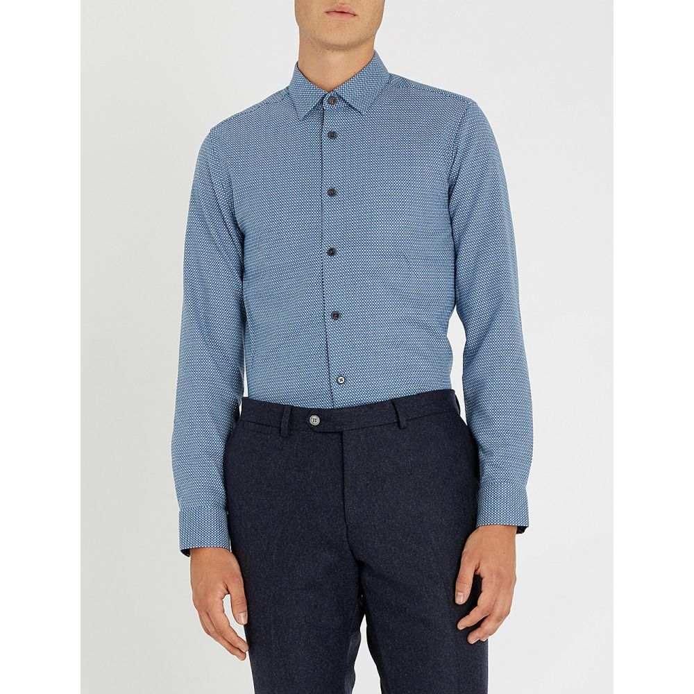 テッドベーカー ted baker メンズ トップス シャツ【geometric-patterned woven shirt】Blue