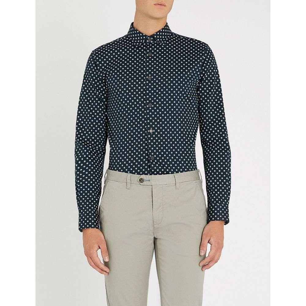 テッドベーカー ted baker メンズ トップス シャツ【geometric floral-print stretch-cotton shirt】Navy