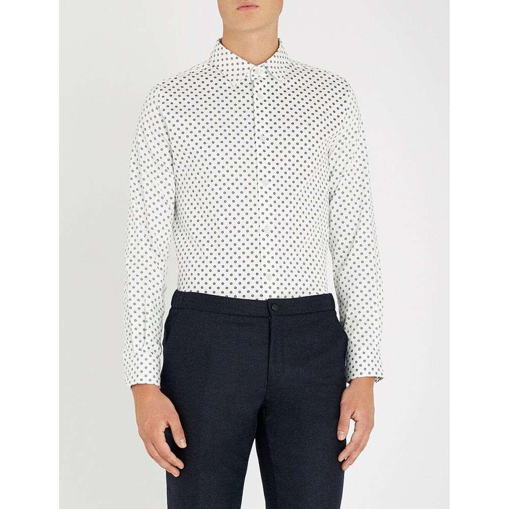 テッドベーカー ted baker メンズ トップス シャツ【geometric floral-print stretch-cotton shirt】White