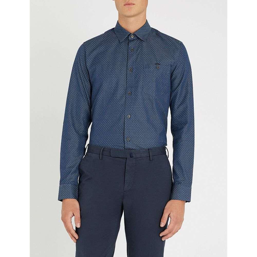 テッドベーカー ted baker メンズ トップス シャツ【modern-fit cotton shirt】Navy