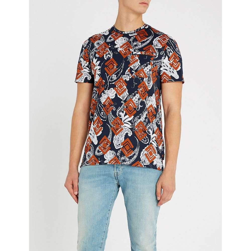 テッドベーカー ted baker メンズ トップス Tシャツ【jaipur printed cotton-jersey tshirt】Orange