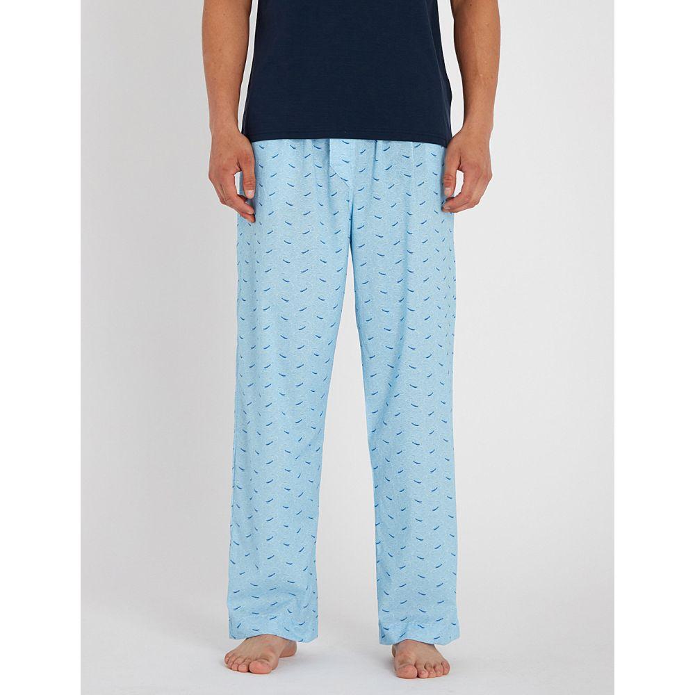 デリック ローズ derek rose メンズ インナー・下着 パジャマ・ボトムのみ【wave-print cotton pyjama bottoms】Light blue