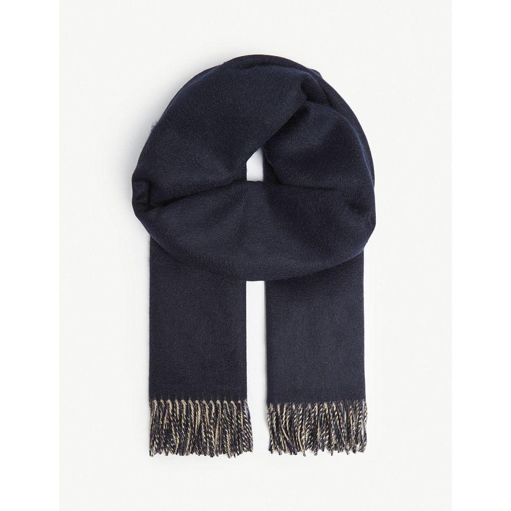 ジョンストンズ johnstons レディース マフラー・スカーフ・ストール【reversible cashmere scarf】Navy