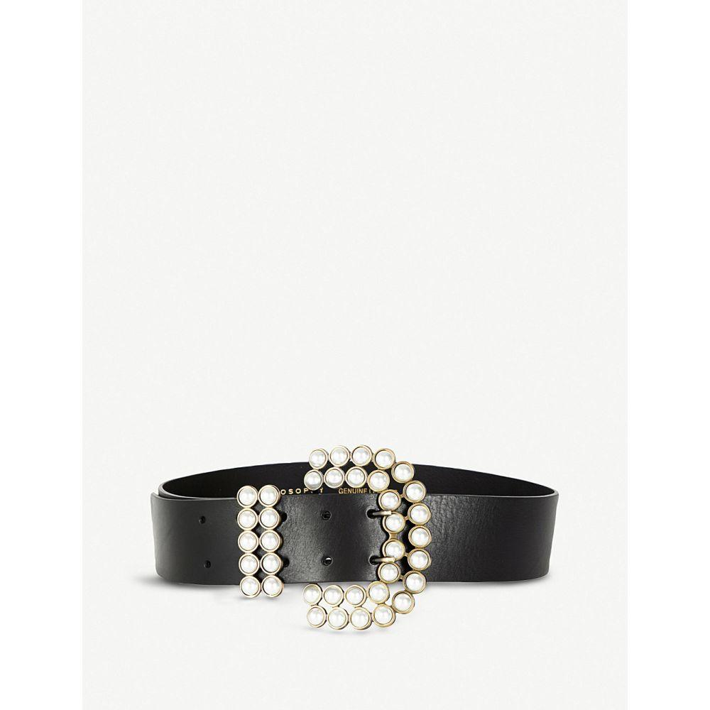 フィロソフィ ディ ロレンツォ セラフィニ philosophy di lorenzo serafini レディース ベルト【faux pearl-embellished leather belt】Black