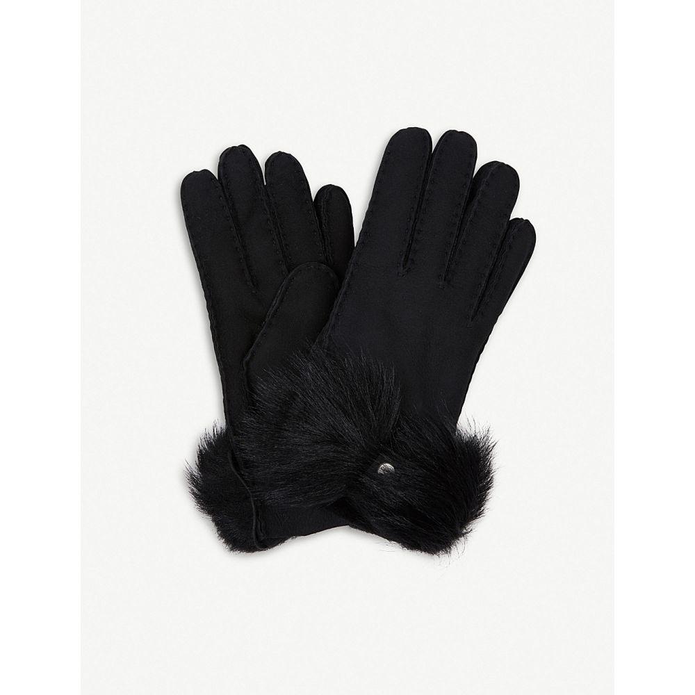 アグ ugg レディース 手袋・グローブ【bow-detail long pile sheepskin gloves】Black