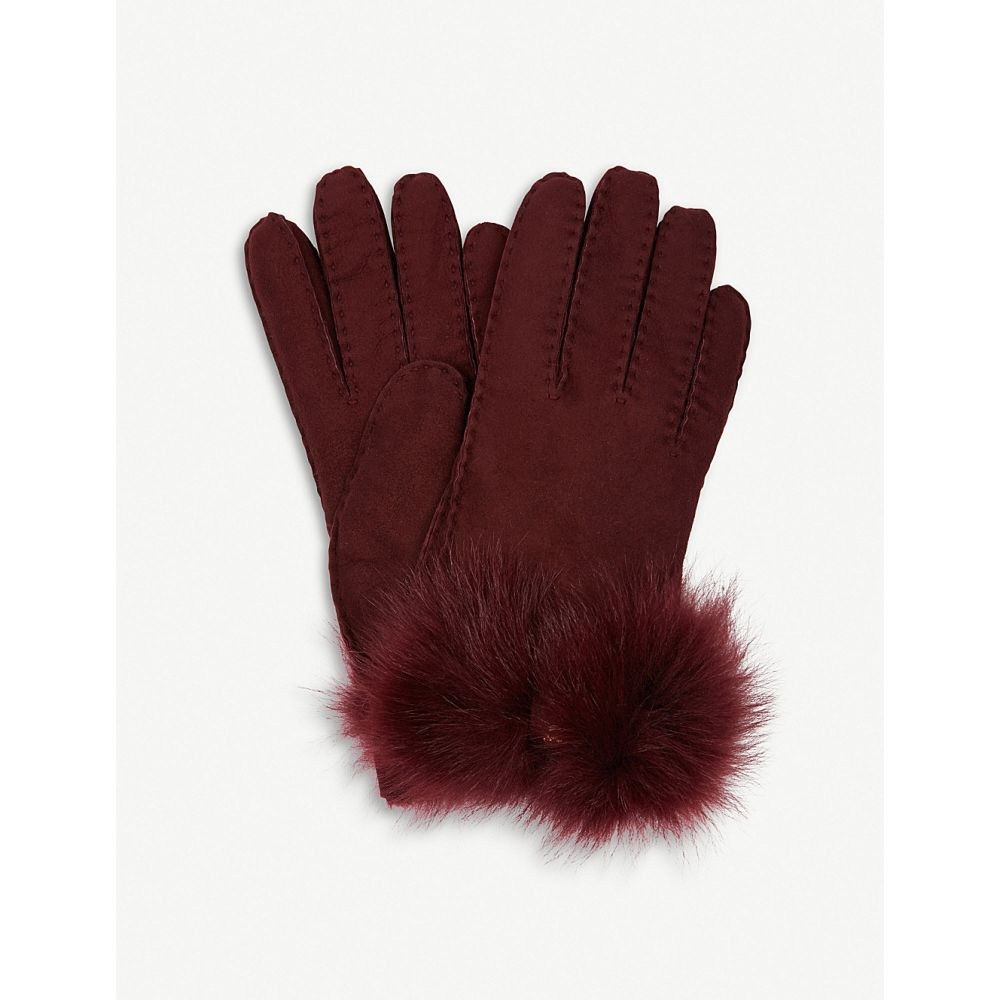 アグ ugg レディース 手袋・グローブ【bow-detail long pile sheepskin gloves】Port