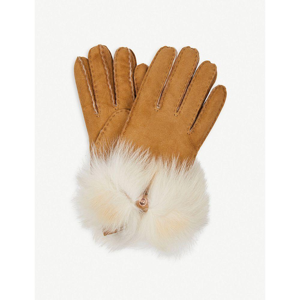 アグ ugg レディース 手袋・グローブ【bow-detail long pile sheepskin gloves】Chestnut