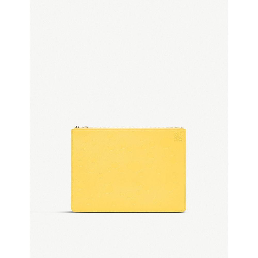 ロエベ loewe レディース ポーチ【cheese-embossed medium flat leather pouch】Yellow/palladium