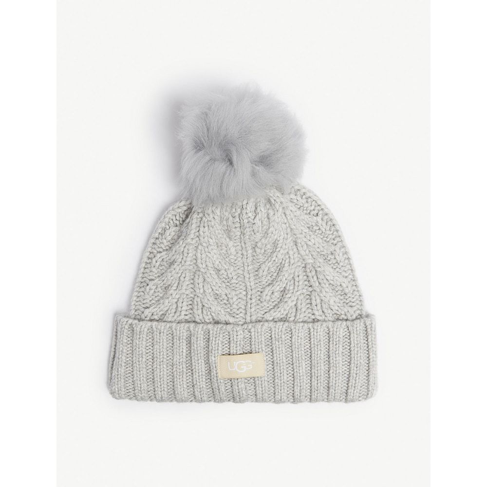 アグ ugg レディース 帽子 ニット【cable knit pompom beanie】Light grey heather