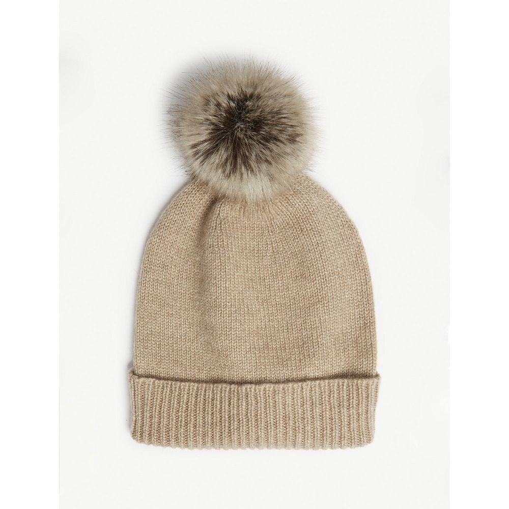 ヘレンムーア helen moore レディース 帽子 ニット【pom-pom cashmere beanie hat】Oatmeal/tuffle