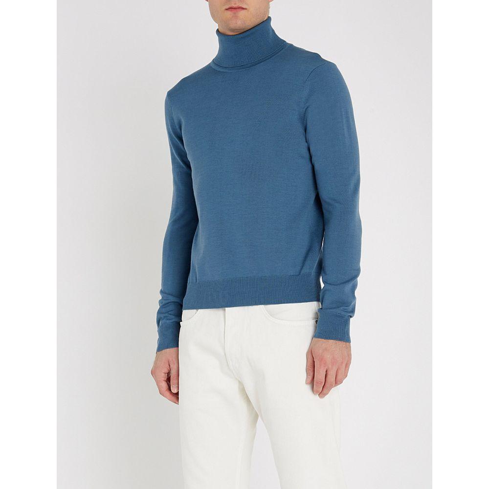 サンドロ sandro メンズ トップス ニット・セーター【turtleneck fine-knit wool jumper】Bleu acier