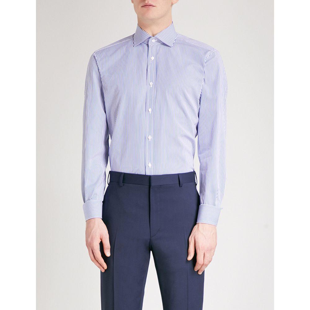 ラルフ ローレン ralph lauren purple label メンズ トップス シャツ【aston striped regular-fit cotton-blend shirt】Blue white