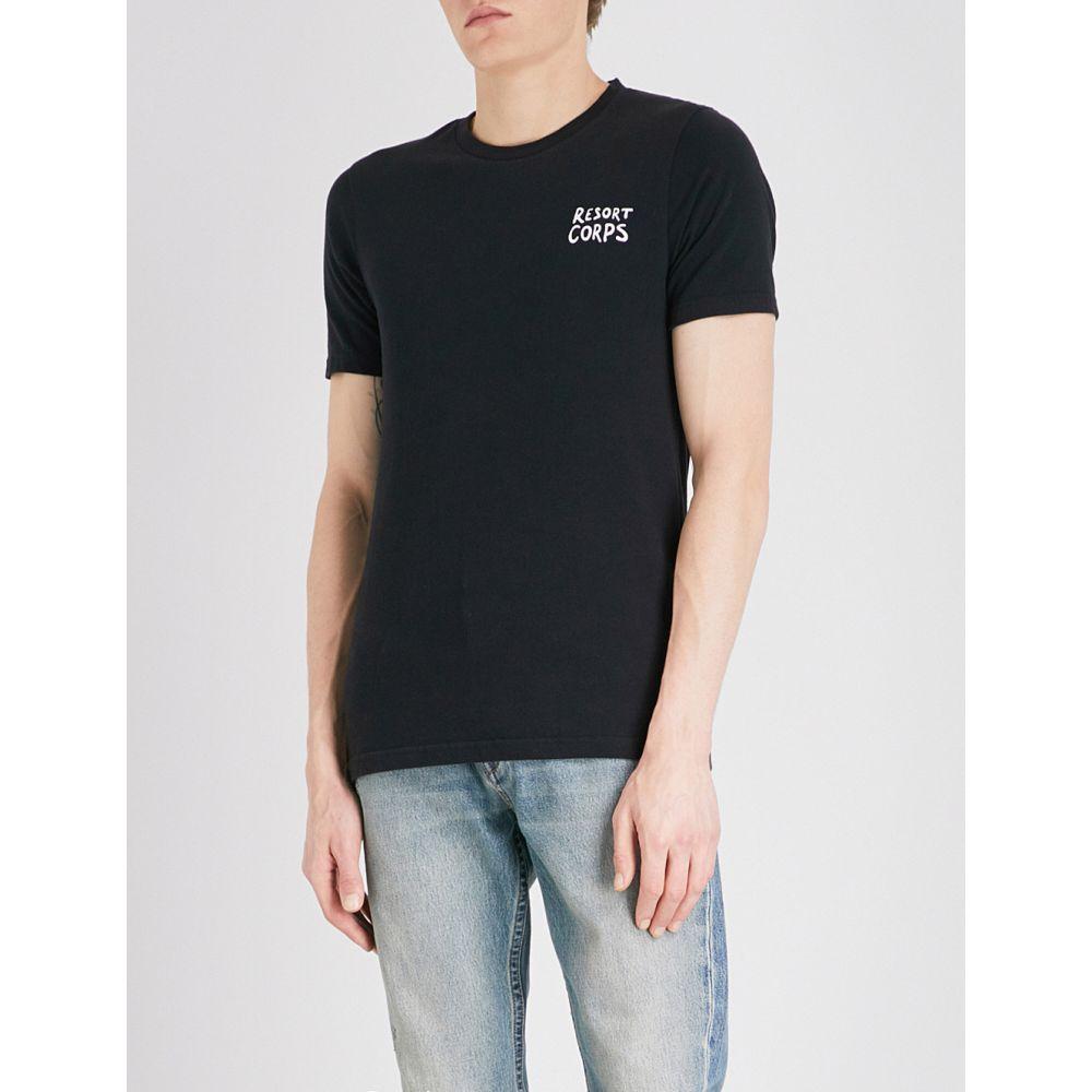 リゾートコープ resort corps メンズ トップス Tシャツ【stript cotton-jersey t-shirt】Black