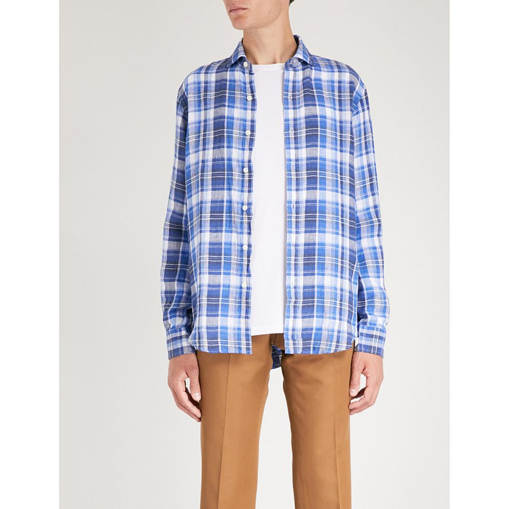 ラルフ ローレン polo ralph lauren メンズ トップス シャツ【classic-fit checked linen shirt】Persian blue/white multi