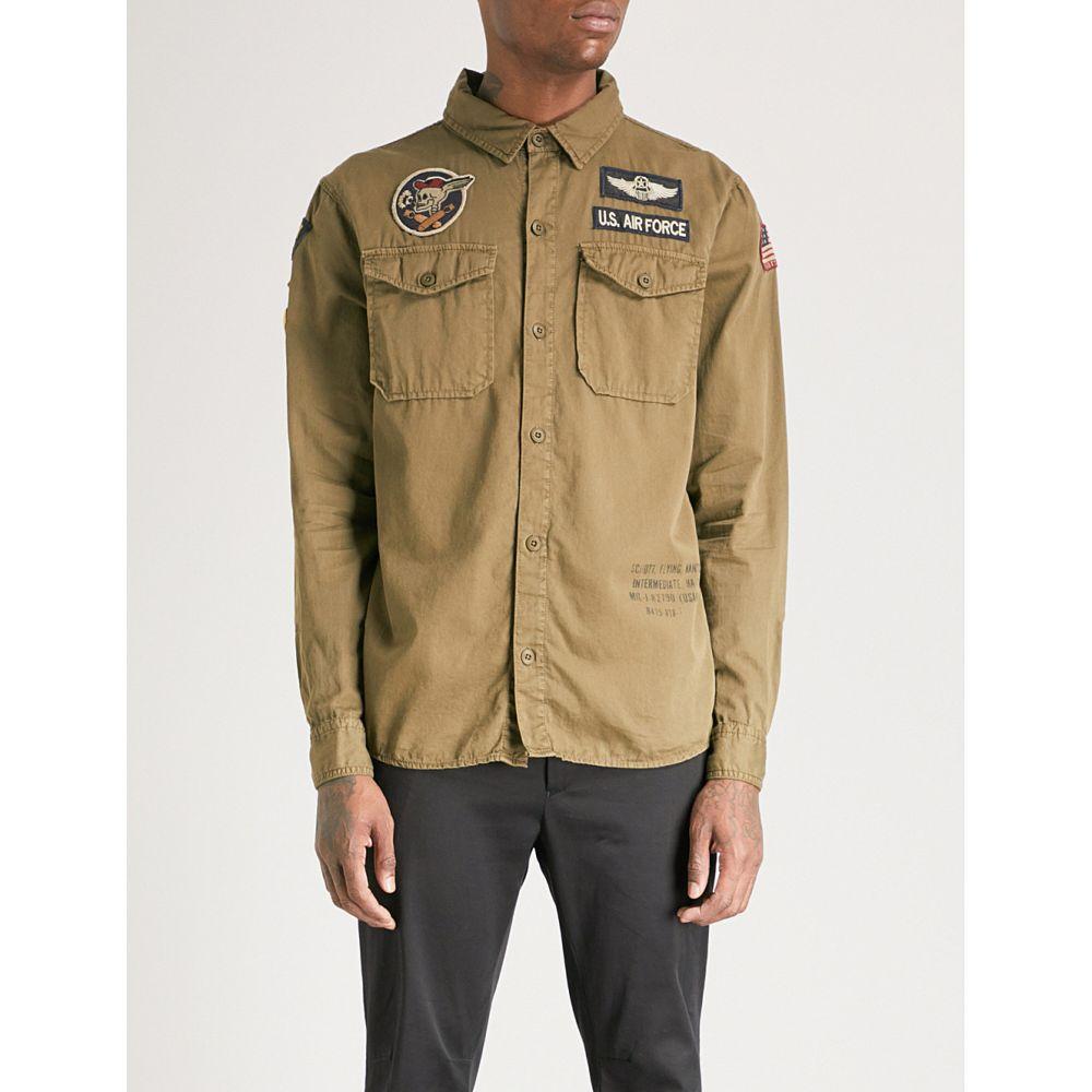 ショット schott メンズ トップス シャツ【army badge-embellished regular-fit cotton shirt】Orange camo
