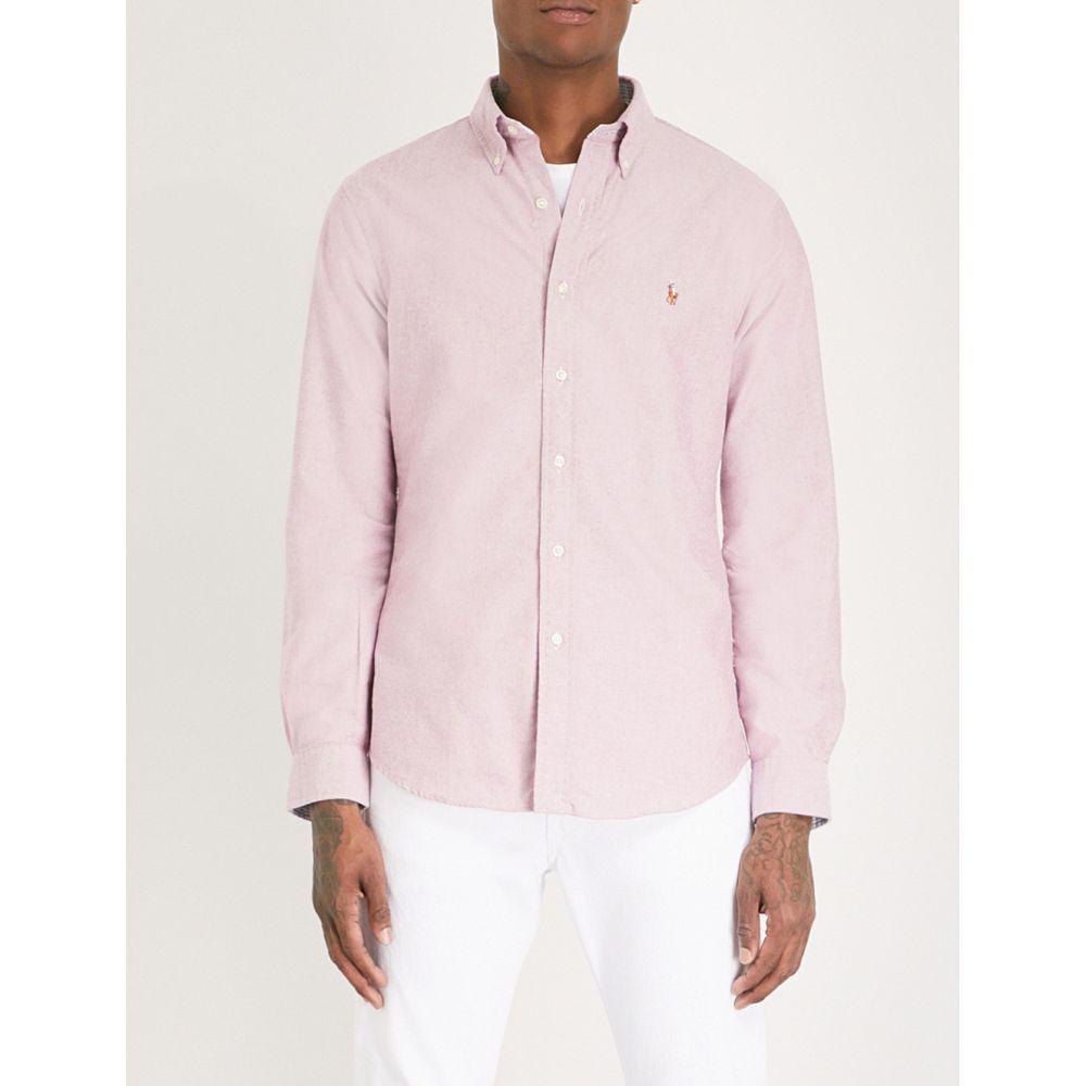 ラルフ ローレン polo ralph lauren メンズ トップス シャツ【logo-embroidered slim-fit cotton shirt】c crimson/white