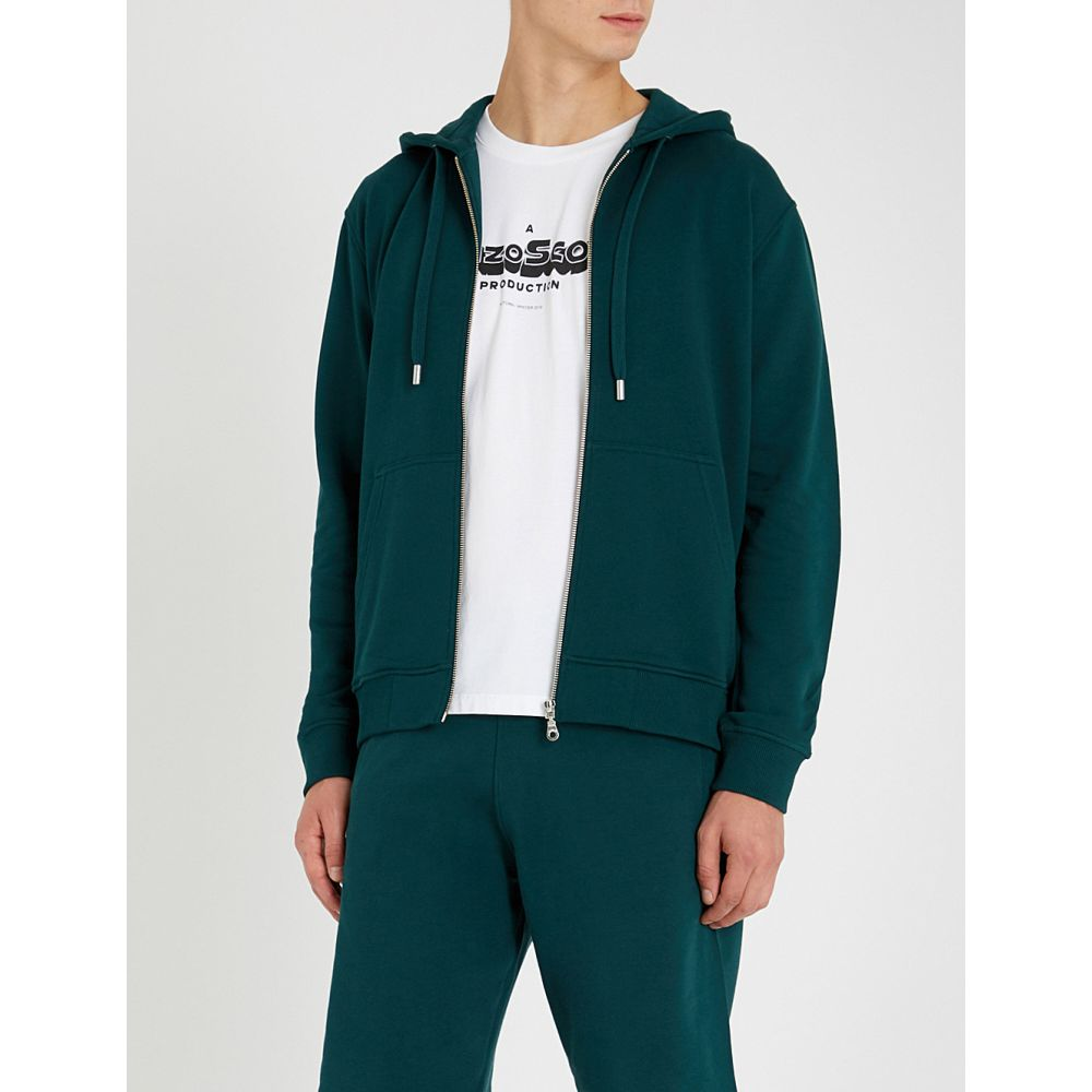 ケンゾー kenzo メンズ トップス パーカー【logo-print cotton-jersey hoody】Pine green