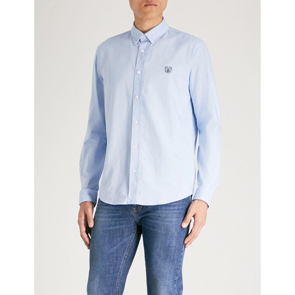 ケンゾー kenzo メンズ トップス シャツ【logo-embroidered casual-fit cotton shirt】Light blue