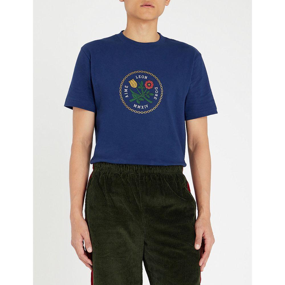エイム レオンドレ aime leon dore メンズ トップス Tシャツ【graphic-print cotton-jersey t-shirt】Navy